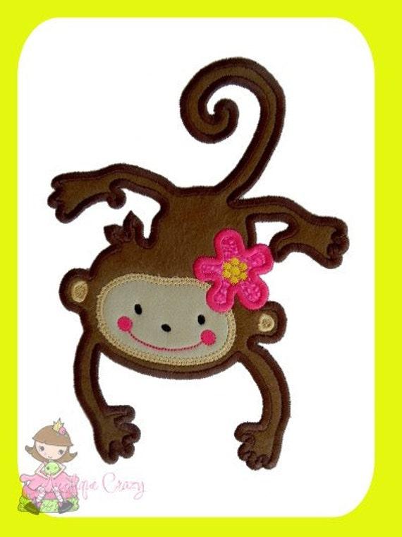 Flower Monkey Applique design