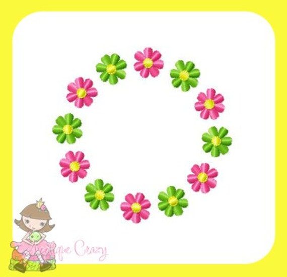 Flower Embroidery Frame Applique Design By AppliqueCrazy