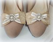 Wedding Shoe Clips, Burlap Shoe CLips, Bridal Shoe Clips, Rustic Wedding Accessories, Pearl Rhinestone Shoe Clips, Rustic Bridal Shoe Clips