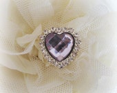 Light Purple Acrylic Gem Heart Buttons. QTY: 1 button