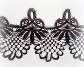 WIDE Black Venice Lace Trim, Bridal Lace, Black Venise Lace Trim, Home Decor Trim