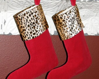 35% off Cheetah Cuff, Red Velvet Christmas Stockings