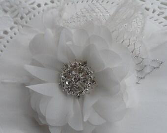 Off White Chiffon Hair Flower / Hair Flower Fascinator / Bridal Flower Head Piece / Bridal Accessories.