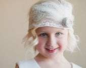 Flower girl headband with silk flower and feather