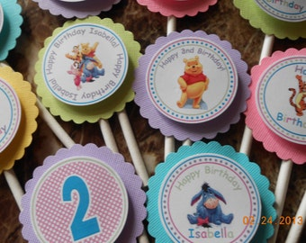 Winnie The Pooh and Friends Cupcake Toppers-Winnie the Pooh Birthday Decoration-Pooh Party Decoration-Pooh Birthday-Girl's Birthday