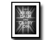 chalkboard art print decor chalk board art black white typography keep calm and carry on union jack 8x10