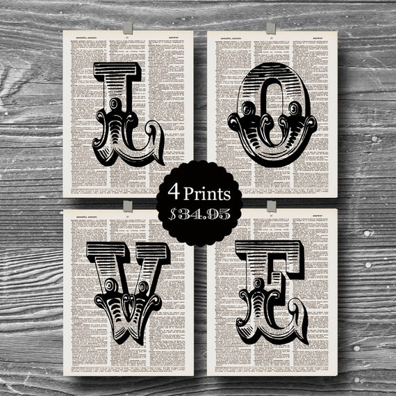 set  initial love letter art  dictionary print book page poster typography 8x10 home decor industrial