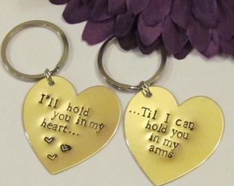 LOVE QUOTE HEART Keychains - Brass -- Boyfriend/ Girlfriend -- Engagement -- Long Distance Relationships -- Just Because
