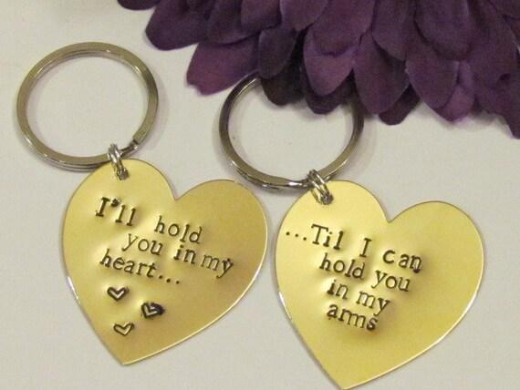 love quote heart keychains brass boyfriend girlfriend