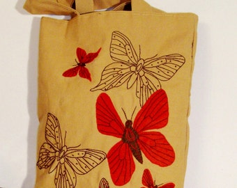 Fashionable Canvas tote bag with butterflies, Eco friendly, handmade appliqued,shopper,carry all,spring tote