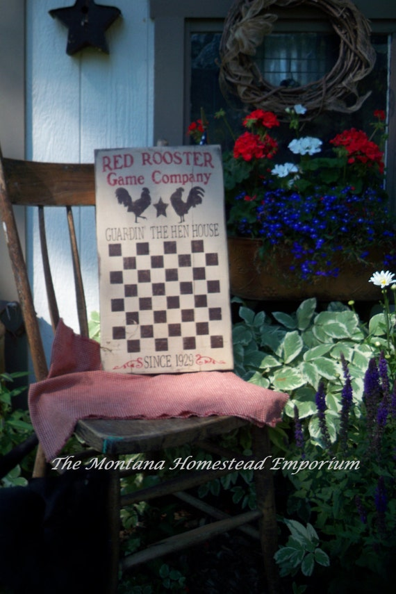 Red Rooster game board sign primitive rustic checker board hand painted red rooster chicken hen house ready to ship