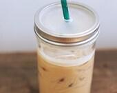 24 oz. Mason Jar Tumbler - Iced Coffee Mason Jar - Canning Jar Drink Tumbler - BPA Free
