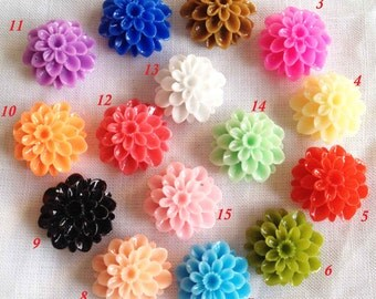 50pcs Chrysanthemum Flowers - Mixed Colors of Beautiful Resin Rose Bobby Pin Charm 20mm GLOSSY H303