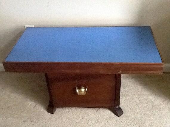 Antique Vintage Art Deco Cobalt Blue Mirror Glass Table