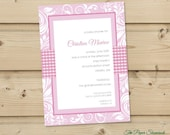 Damask and Gingham - Shower Invitation, Baby Shower, Wedding Shower Invitation, Bridal Shower Invitation
