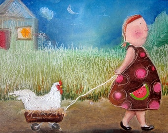 "Girl with Chicken- Childrens art on watercolor paper 8""x10"""