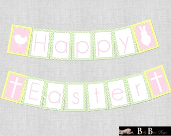 Happy Easter Banner- Printable- INSTANT DOWNLOAD