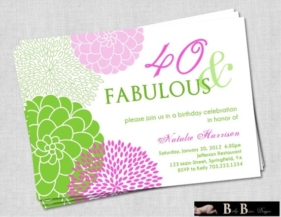 40 & Fabulous 40th or 50th Birthday Party Invitation - Purple and Green