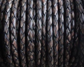 3mm Antique Brown Round Bolo Braided Leather Cord - Natural Dye - 3mm Wide