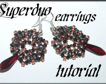 Superduo bead earrings with dagger bead Beading Pattern PDF tutorial beading pattern tutorial instructions