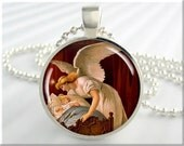 Guardian Angel Necklace Jewelry Resin Charm Angel and Child Pendant (569RS)