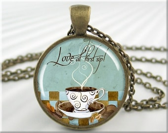 Coffee Art Pendant Coffee Jewelry Resin Necklace Pendant (483RB)