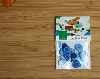 Destash Cute Buttons - Plastic Blue MIni Buttons for Scrapbooking, Craft etc