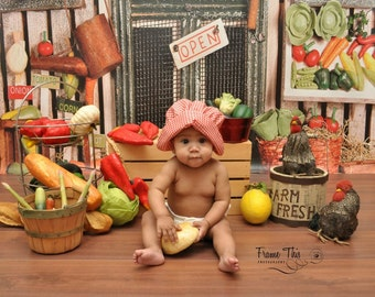NEW ITEM 7ft x 6ft Veggie Stand / Vinyl Photography Backdrop Floordrop