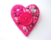 Felt Heart Brooch large white OOAK buttoned and beaded brooch pin number 46