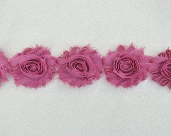 Shabby Chiffon Rose Trim, Mauve, 1 yard