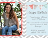 Grey Chevron Birthday Invitation 1 Template 4x6