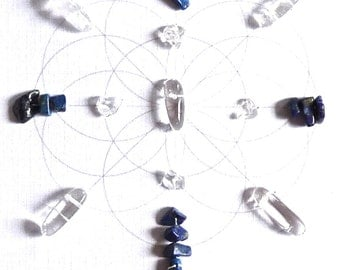 KNOWLEDGE BAGUA AREA --- feng shui art --- framed sacred crystal grid --- quartz, lapis lazuli