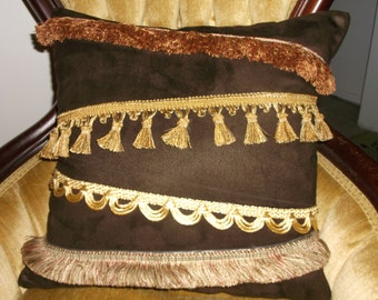 Hubba Hubba Accent Pillow,  Chocolate Faux Suede With Four Trims Across The Front,  1920's Flapper Pillow By Pillowinno