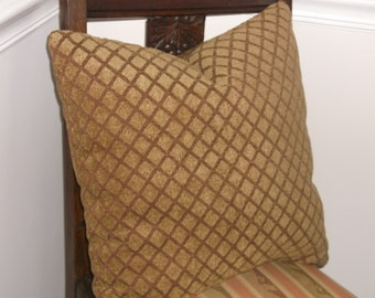 Comfy Chenille Accent Pillows, Gold, Rust Geometric  for your comfy family room sofa Or Travel Trailer, Soft Chenille, 1 Avail