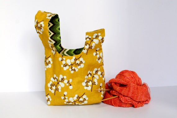Knitting Project Bag / Crochet Project Bag / Japanese Knot Bag / Knitting Bag / Wristlet - Small - Cotton Flower