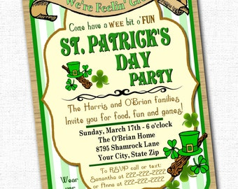 St. Patrick's Day Party Invitation Custom 5 x 7 Printable File