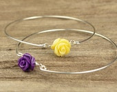 Custom Listing- Two Rose Bangle Bracelet- Gemstone Rose Beads and Sterling Silver Filled Wire- Custom Made to Size