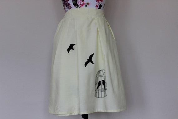 """CLEAR OUT !!! Handmade cream-yellow skirt with embroidered bird cage and flying swallows size UK 14 waist 32"""""""