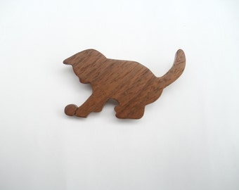 cat brooch pin wood playing  jewellery scroll saw animal gift