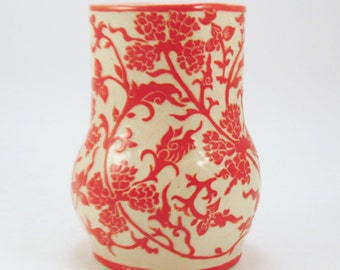 SGRAFFITO Hand Built FLORAL VASE - Handmade - Delicate All-Over Design Carved into Stoneware Pottery