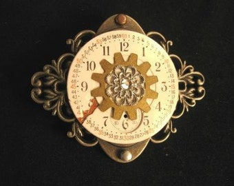 steampunk pin Time Keeper