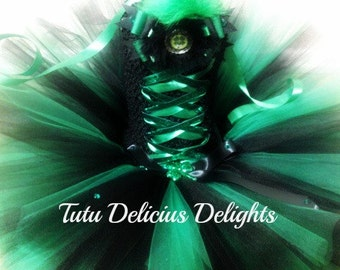 St. Patrick's Day Tutu Dress,  Black and Green Tutu Dress, Lucky Charm Tutu, Iris Tutu