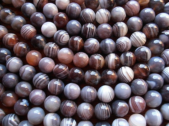 "Natural Botswana Agate 12mm Round Shape Beads - Full 16"" Strand  / Liquidation / Close Out Prices 1 - 5 Strands"