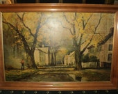 "A Large Vintage Robert Woods Lithographic  Print of an  Autumn Landscape Scene from the oil painting ""Golden Maples"", in  solid Maple Frame"