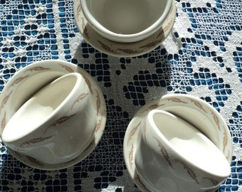 6 Vintage Diner Dinnerware Pieces, A Collection of  Soup and Saucers Made by Homer Laughlin Best China indestructible dishware