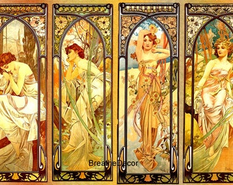 Alphonse Mucha Times of Day Illustration Art Print Digital Download
