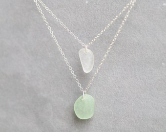 Sea Glass & Sterling Silver Necklace - Free Shipping