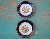 Vintage two mini floral patterned porcelain plates, china plate, home decor, doll plate