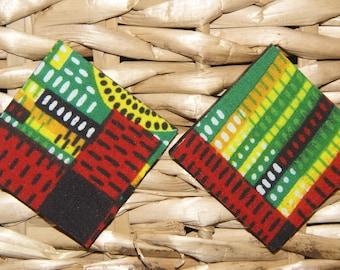 Large Stud Earrings - Kente Fabric Covered Wood Earrings