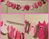 Cute Fabric Owl Garland Banner Bright Pinks Handmade